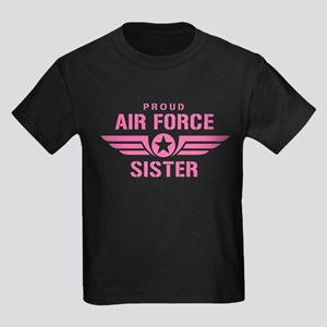 Proud Air Force Sister W [pink] Kids Dark T-Shirt
